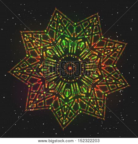 Christmas Glowing Colorful Star. Design Element of Celebratory Decor.