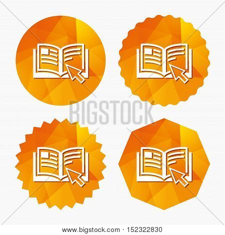 Instruction sign icon. Manual book symbol. Read before use. Triangular low poly buttons with flat icon. Vector