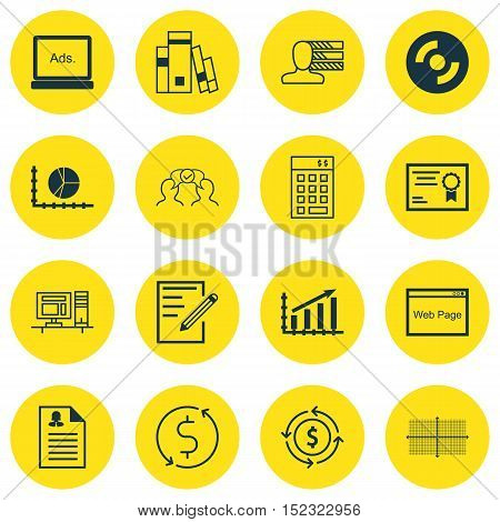 Set Of 16 Universal Editable Icons For Education, Computer Hardware And Human Resources Topics. Incl