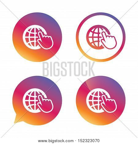 Internet sign icon. World wide web symbol. Cursor pointer. Gradient buttons with flat icon. Speech bubble sign. Vector
