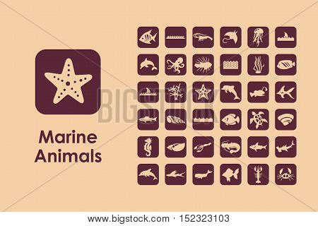 It is a set of marine animals simple web icons