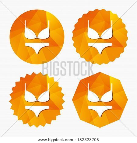 Women bra and panties sign icon. Intimates underwear symbol. Triangular low poly buttons with flat icon. Vector