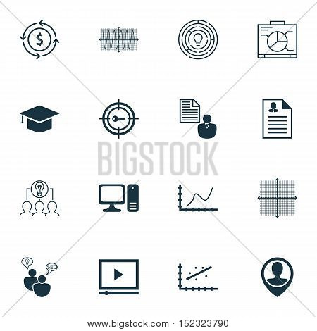Set Of 16 Universal Editable Icons For Marketing, Advertising And Travel Topics. Includes Icons Such