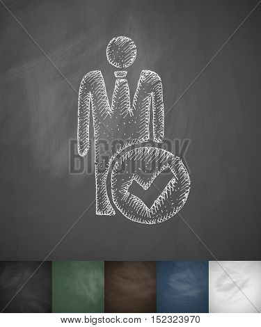 hired icon. Hand drawn vector illustration. Chalkboard Design