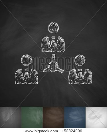 colleagues icon. Hand drawn vector illustration. Chalkboard Design