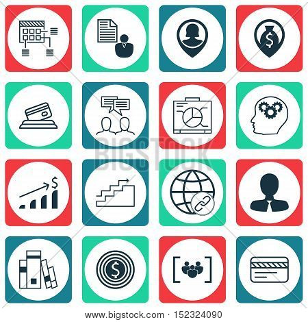 Set Of 16 Universal Editable Icons For Travel, Advertising And Human Resources Topics. Includes Icon