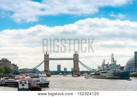 LONDON, UNITED KINGDOM - June 21, 2016. Street view of Beautiful and Antique London Bridge. London, United Kingdom