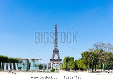 PARIS, FRANCE - August 15, 2016 : Eiffel Tower, nickname La dame de fer, the iron lady, The tower has become the most prominent symbol of  Paris. Paris, France