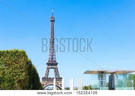 PARIS, FRANCE - August 15, 2016 : Eiffel Tower, nickname La dame de fer, the iron lady, The tower has become the most prominent symbol of  Paris. Paris, France