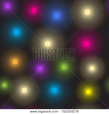 Seamless pattern of luminous colorful spots on a dark background vector