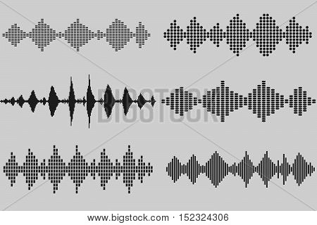 Set of sound and audio music waves in black colors. Prepared templates for equalizer design. Elements from different shapes