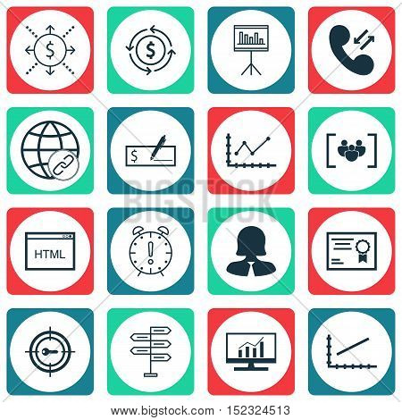 Set Of 16 Universal Editable Icons For Travel, Human Resources And Marketing Topics. Includes Icons