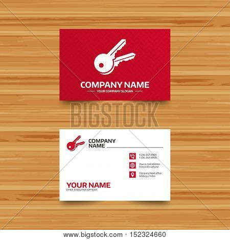 Business card template. Keys sign icon. Unlock tool symbol. Phone, globe and pointer icons. Visiting card design. Vector