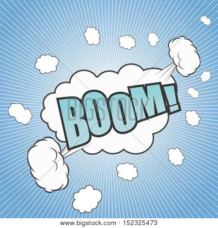 Comic boom cartoon with text, white clouds, spikes and blue background. Pop-art style. Vector illustration