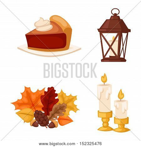 Set of colorful cartoon icons for thanksgiving day. Pumpkin holiday vector thanksgiving icons turkey design leaf celebration. Collection element traditional hat harvest day thanksgiving icons.