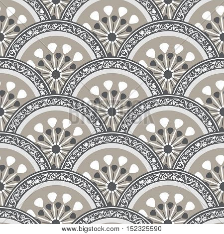 Vintage seamless pattern with gray circles with border vector