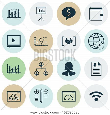 Set Of 16 Universal Editable Icons For Human Resources, Statistics And Marketing Topics. Includes Ic