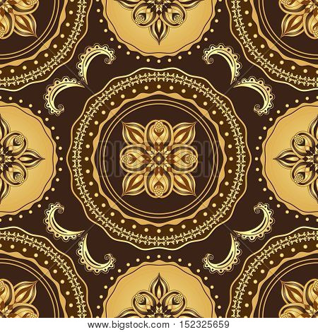 Golden and brown seamless pattern with vintage circles vector