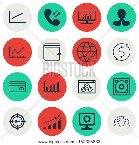 Set Of 16 Universal Editable Icons For Computer Hardware, Advertising And Statistics Topics. Include