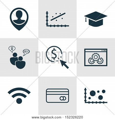 Set Of 9 Universal Editable Icons For Marketing, Airport And Human Resources Topics. Includes Icons