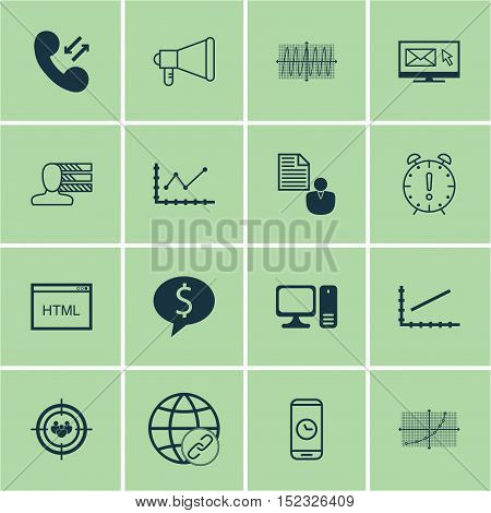 Set Of 16 Universal Editable Icons For Marketing, Statistics And Project Management Topics. Includes