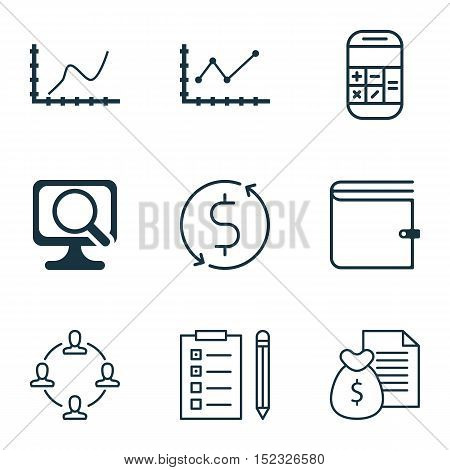 Set Of 9 Universal Editable Icons For Statistics, Project Management And Airport Topics. Includes Ic
