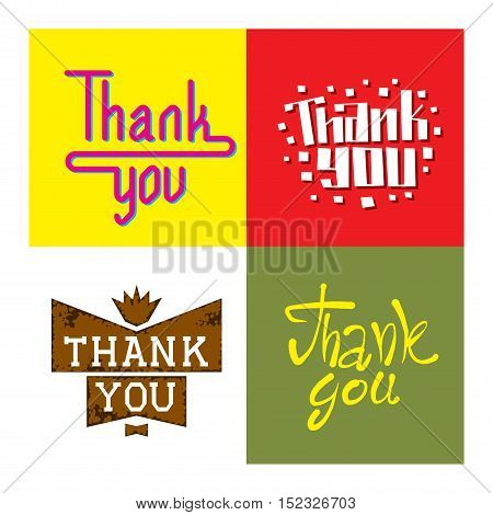 Set of custom thank you text hand lettering. Vector illustration thank you text lettering. Typography decorative design font thank you text lettering calligraphy script word.