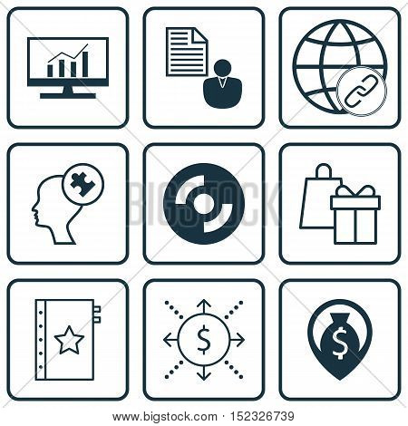 Set Of 9 Universal Editable Icons For Advertising, Business Management And Computer Hardware Topics.
