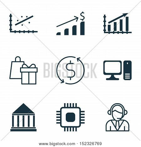 Set Of 9 Universal Editable Icons For Statistics, Human Resources And Education Topics. Includes Ico