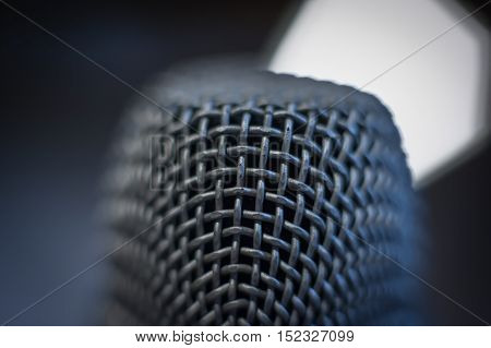 Microphone Macro Close Up Detail Blue Atmosphere