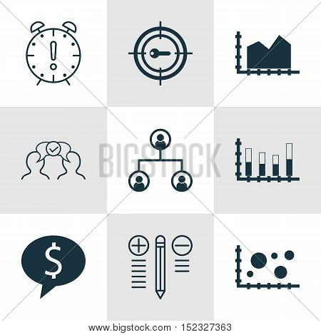 Set Of 9 Universal Editable Icons For Advertising, Business Management And Project Management Topics