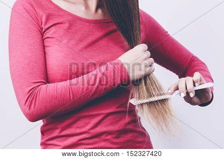 Woman Brush Long Hair.