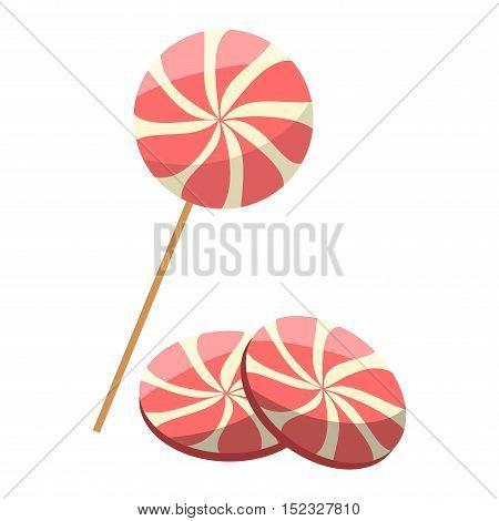 Lollipop sweet food vector illustration. Colorful lollipop isolated on white vector illustration. Lollipop sugar candy sweet candy. Lollipop dessert cartoon vector.