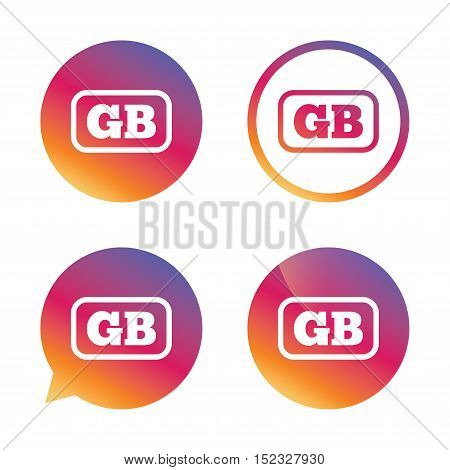 British language sign icon. GB Great Britain translation symbol with frame. Gradient buttons with flat icon. Speech bubble sign. Vector