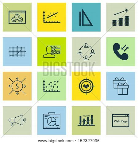 Set Of 16 Universal Editable Icons For Marketing, Seo And Airport Topics. Includes Icons Such As Cel