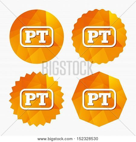 Portuguese language sign icon. PT Portugal translation symbol with frame. Triangular low poly buttons with flat icon. Vector
