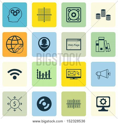 Set Of 16 Universal Editable Icons For Human Resources, Statistics And Project Management Topics. In