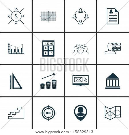 Set Of 16 Universal Editable Icons For Airport, Advertising And Statistics Topics. Includes Icons Su
