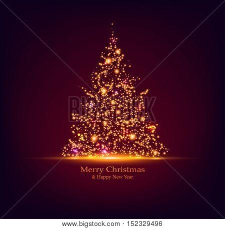 Vector Christmas tree. Holiday card design. Bokeh lights.