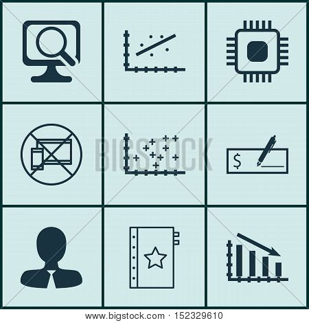 Set Of 9 Universal Editable Icons For Project Management, Airport And Computer Hardware Topics. Incl