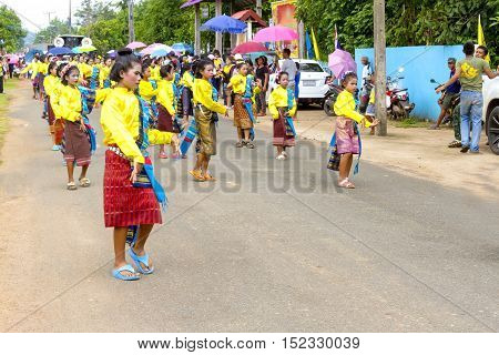SISAKETTHAILAND. On October 1 2016 in rural northeastern province of Sisaket Girl dancing in traditional Sart Thai. SART THAI is an important tradition of rural Thailand.