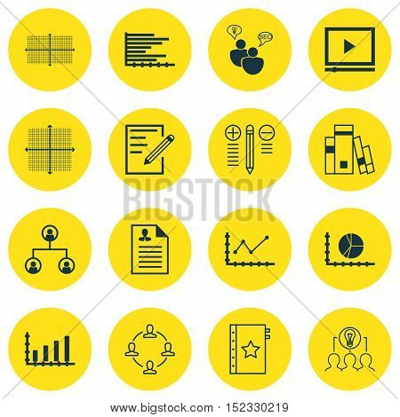 Set Of 16 Universal Editable Icons For Business Management, Statistics And Project Management Topics