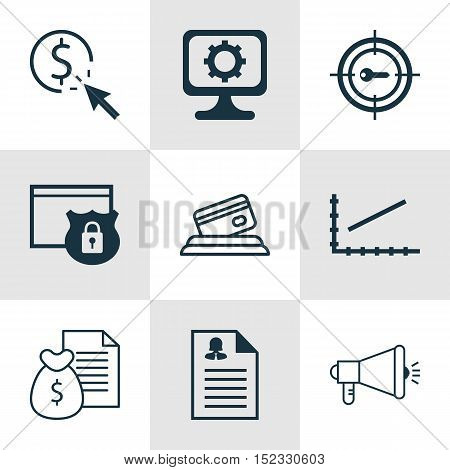 Set Of 9 Universal Editable Icons For Advertising, Airport And Statistics Topics. Includes Icons Suc