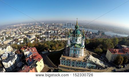aerial view of the autumn Kiev, Podol, St. Andrew's church