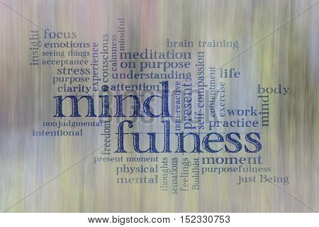 mindfulness word cloud against motion blurred landscape abstract