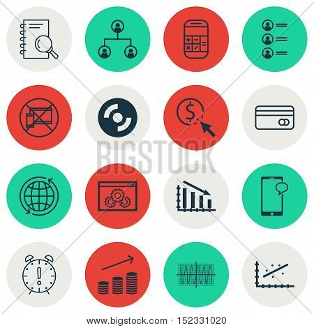 Set Of 16 Universal Editable Icons For Computer Hardware, Advertising And Airport Topics. Includes I