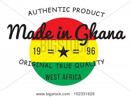 Made in Ghana stamp black with flag.