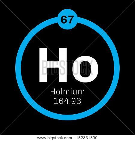 Holmium chemical element. Colored icon with atomic number and atomic weight. Chemical element of periodic table.
