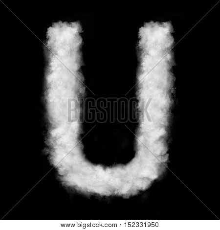 letter U made of the clouds