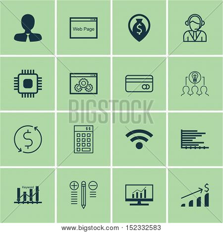 Set Of 16 Universal Editable Icons For Computer Hardware, Project Management And Marketing Topics. I